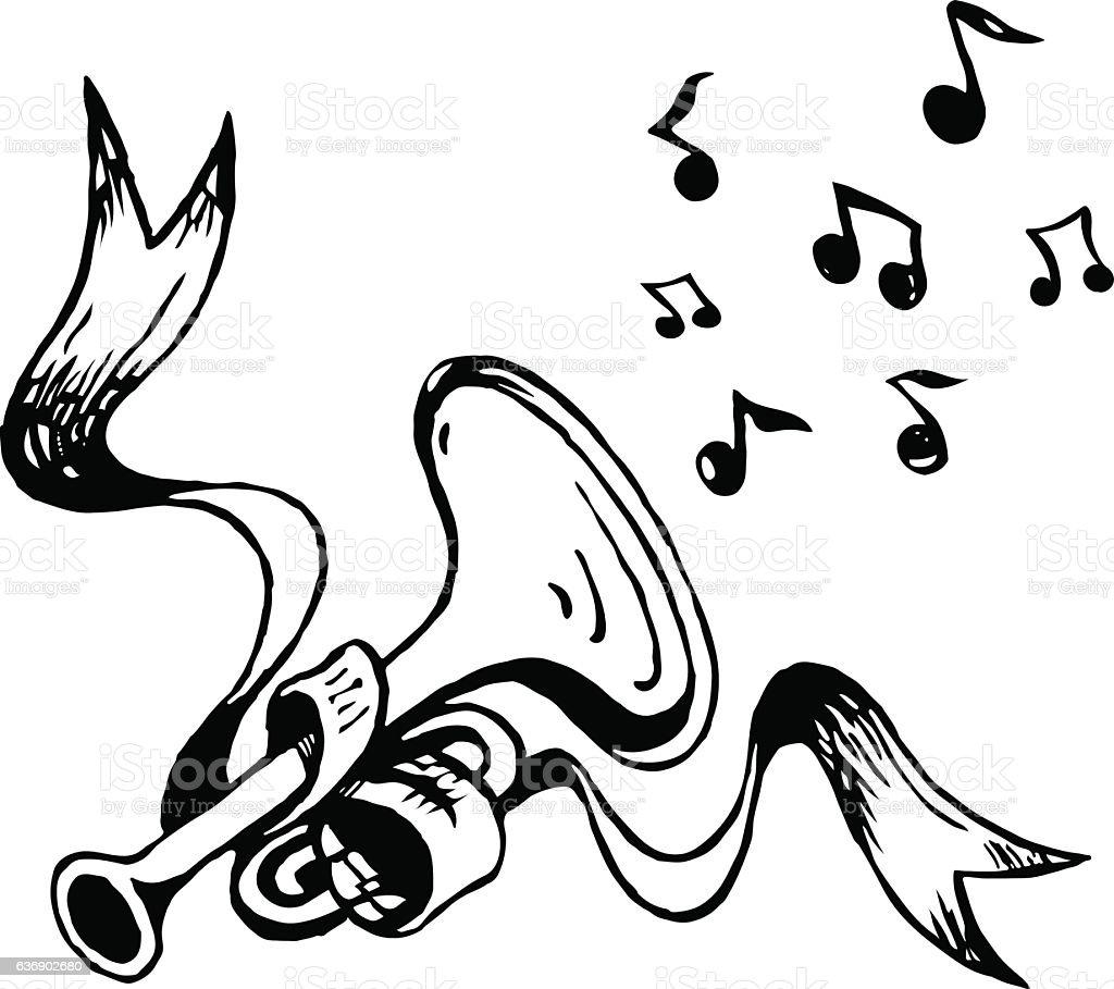 Vector sketch trumpet and ribbon vector art illustration