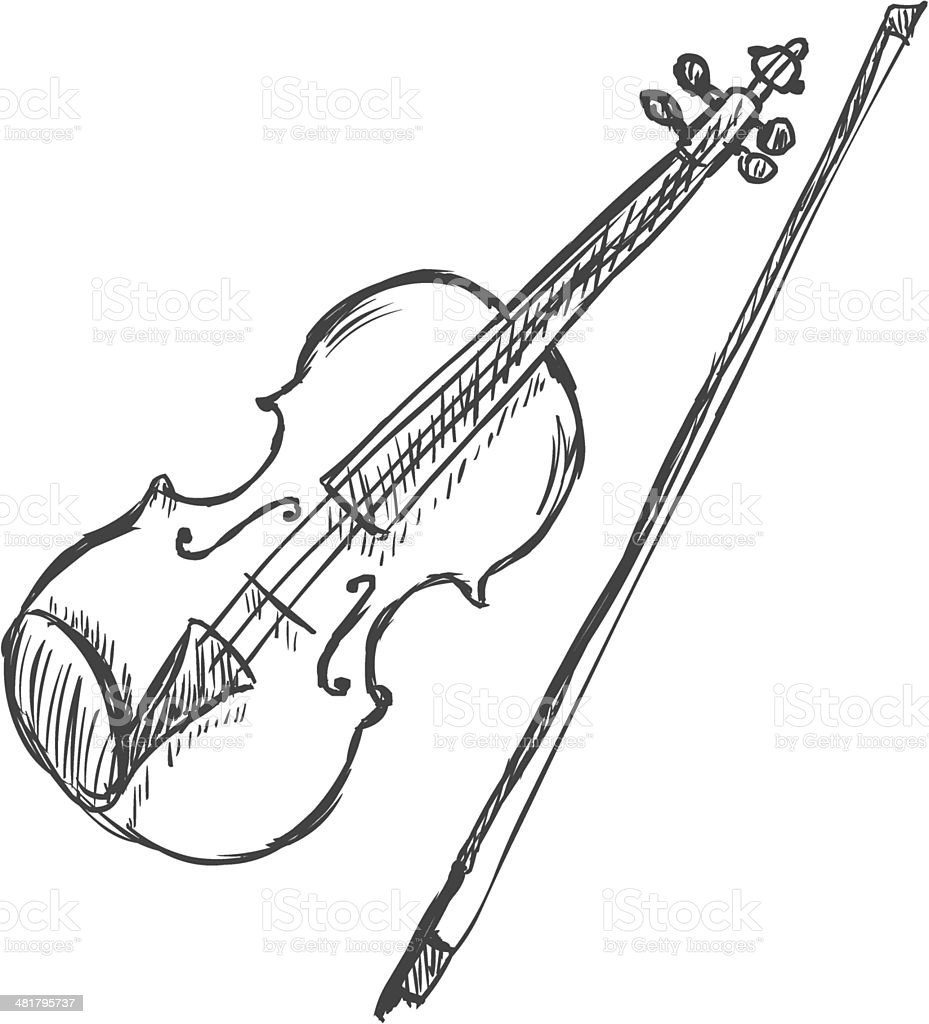 vector sketch violin with fiddlebow stock vector art