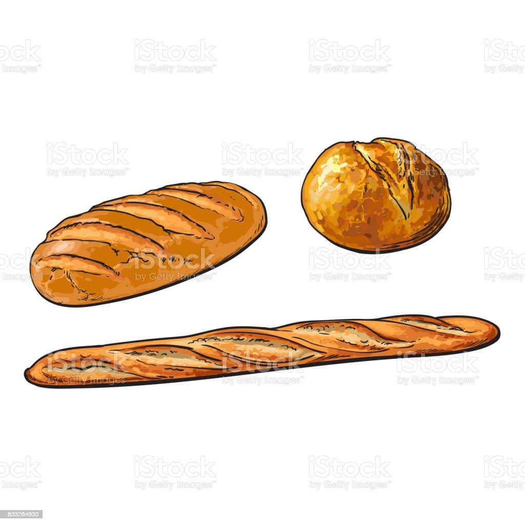 pain blanc pain baguette français set de Vector esquisse - Illustration vectorielle