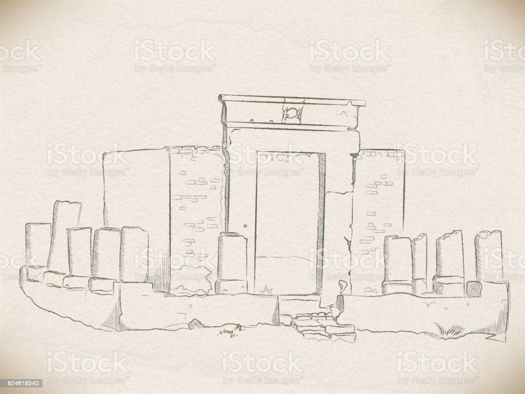ilustração de vetor desenho com um lápis as ruínas de um santuário