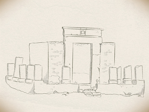 vector sketch with a pencil: the ruins of a Christian sanctuary in the temple of Amun-RA in Luxor. Egypt. on the background of old faded paper