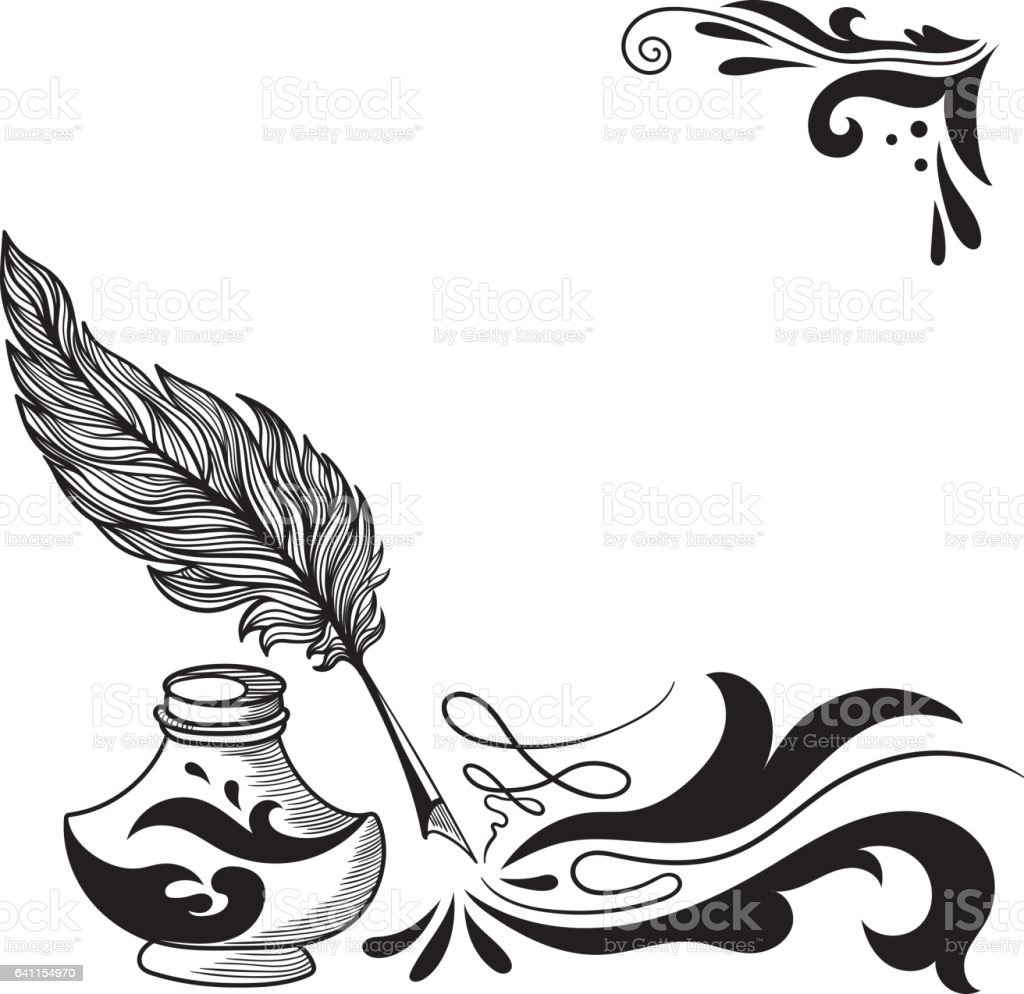 Vector Sketch with Feather and Inkstand vector art illustration