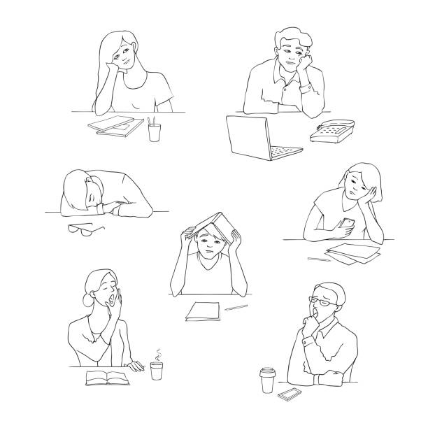 Vector sketch young bored, tired students set Vector sketch young bored, tired students set sitting with cups of tea or coffee with boring, tired facial expressions. Young men, women sitting behind laptop, books yawning monochrome illustration boredom stock illustrations