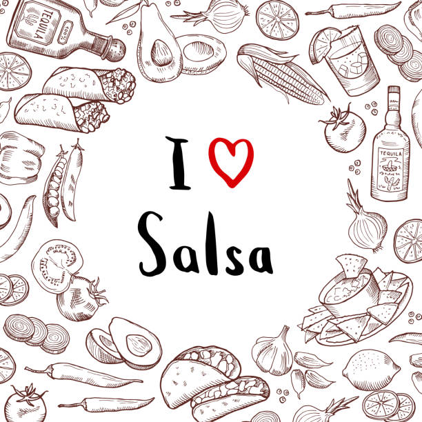 vector sketched mexican food elements background with circle of empty space in center - mexican food stock illustrations, clip art, cartoons, & icons