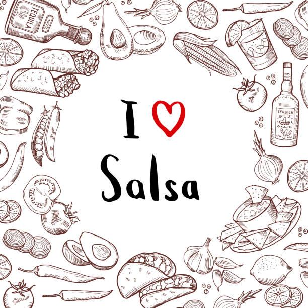 Vecteur dessiné fond éléments cuisine mexicaine avec cercle d'espace vide dans le centre - Illustration vectorielle
