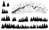 Vector mountain with forest silhouette. Sketch rocky peak with sun rays and pine trees.