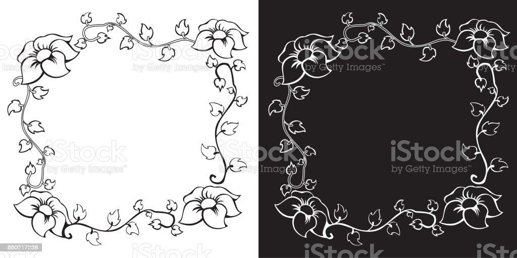 Ilustración de Frontera Floral Vintage Bosquejado Vector Para Su ...