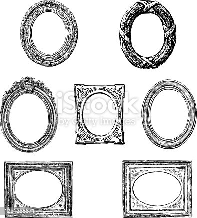 Vector drawings of collection various wooden oval picture frames.