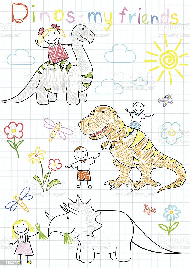 Vector sketches with happy children's and dinosaurs royalty-free stock vector art