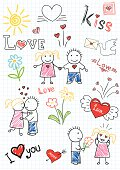 Vector drawings - romantic couple. Sketch on notebook page