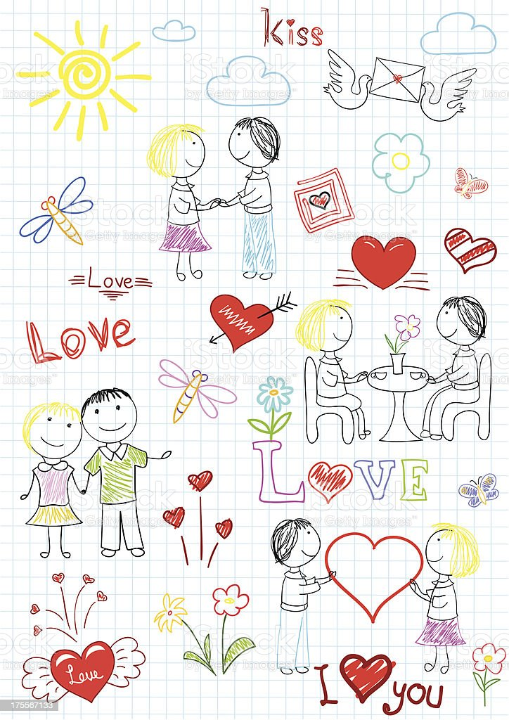 Vector sketchs - romantic couple royalty-free stock vector art