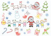 Vector drawings - Santa Claus and children. Sketch on notebook page