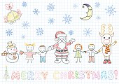 Vector drawings - Santa Claus and children. Sketch on notebook page in doodle style
