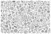 Vector sketchy line art Doodle cartoon set of objects and symbols on the Spring nature theme