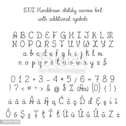 Vector Sketchy Handdrawn Italic Cursive Font With Additional Symbols