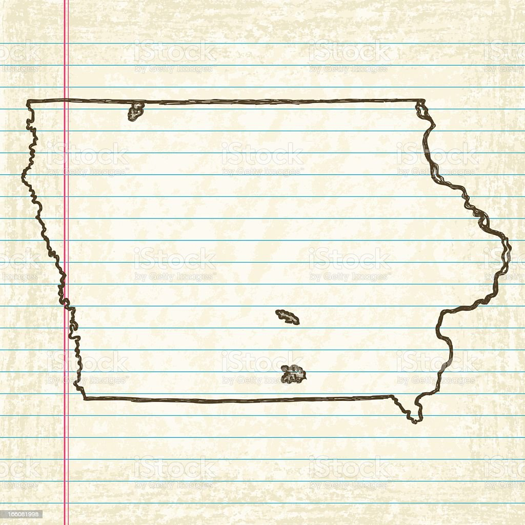Vector Sketchy Map on Old Lined Paper Background. Iowa. royalty-free vector sketchy map on old lined paper background iowa stock vector art & more images of beige