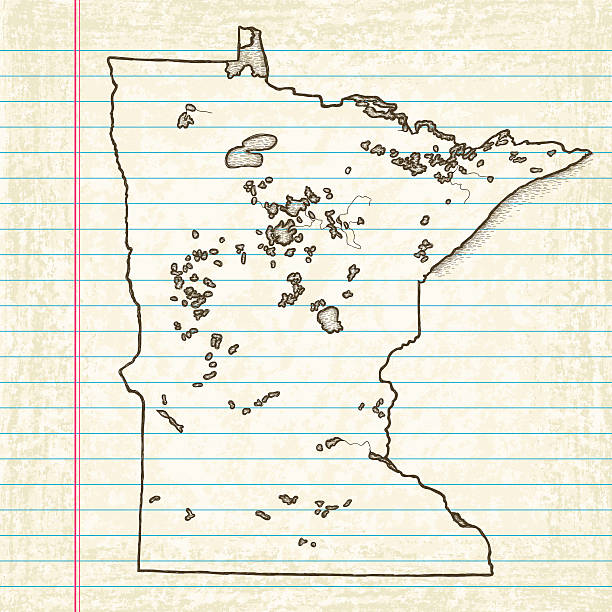 vector sketchy map on old lined paper background. minnesota. - lake superior stock illustrations, clip art, cartoons, & icons