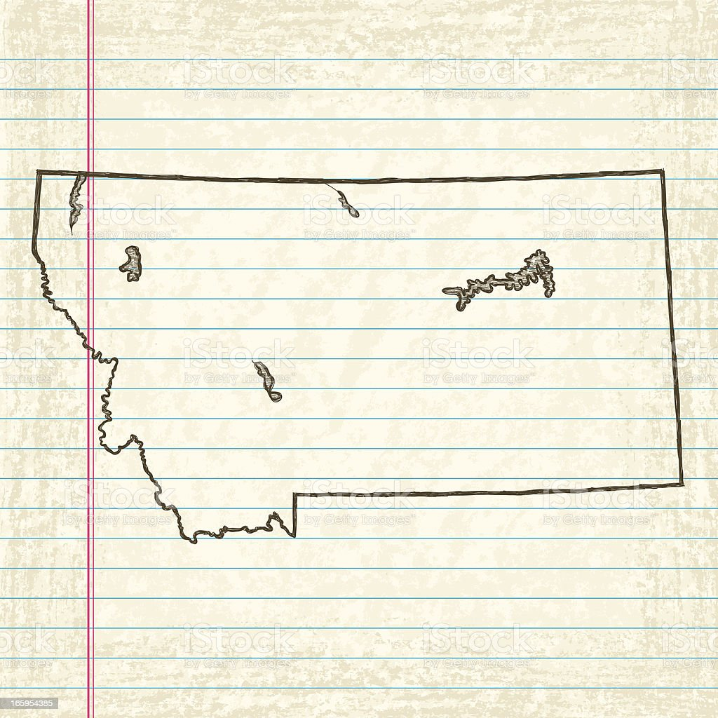 Vector Sketchy Map on Old Lined Paper Background. Montana. royalty-free stock vector art