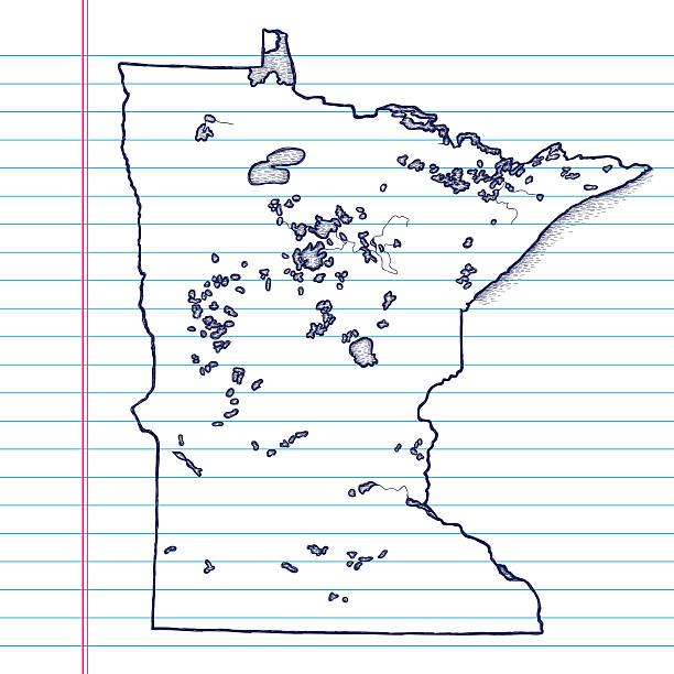 vector sketchy map on white lined paper background. minnesota. - lake superior stock illustrations, clip art, cartoons, & icons