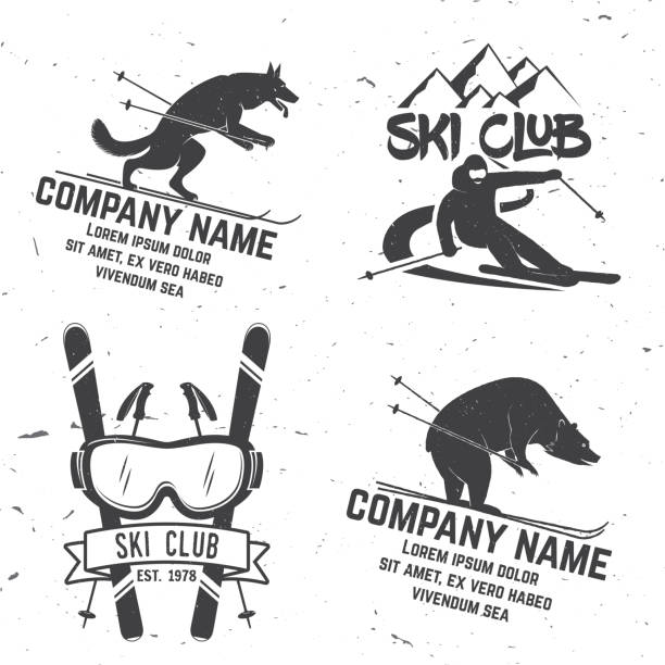 illustrations, cliparts, dessins animés et icônes de badge rétro vecteur ski club - ski