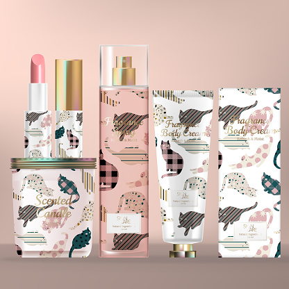 Vector Skincare and Beauty Set with Scented Candle Screw Cap Jar, Lipstick, Body Mist Spray Bottle and Hand Cream Tube. Cat Pattern Print Packaging.