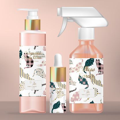 Vector Skincare or Beauty Packaging Set with Body Wash Pump Bottle, Serum Droplet and Aroma Spray Bottle. Cat Pattern Print Packaging.