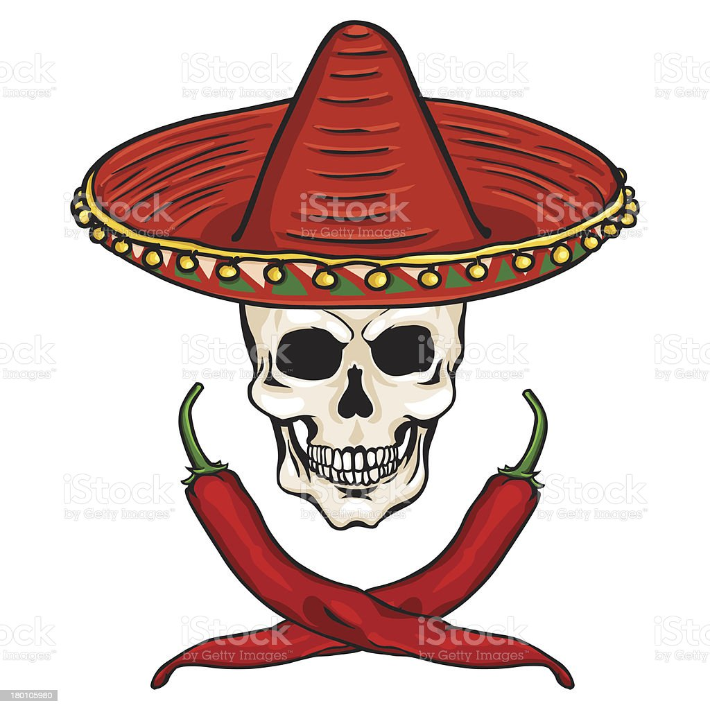 vector skull in a Mexican sombrero royalty-free vector skull in a mexican sombrero stock vector art & more images of celebration