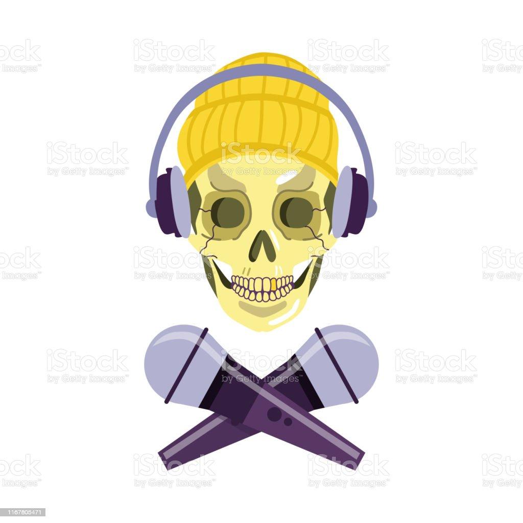 Vector Skull In Headphones Chat Crossed Microphones Stock