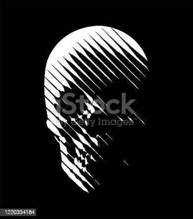 istock Vector skull line-art 1220334184