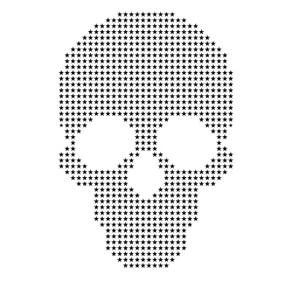 vector skull with stars with white background