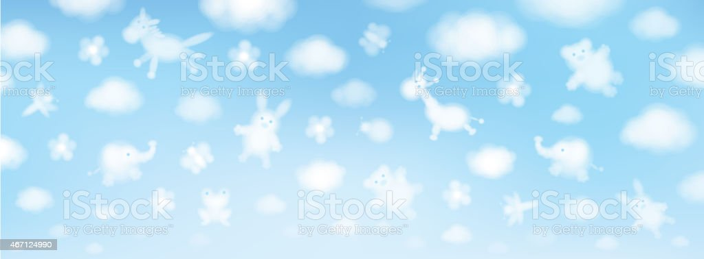 Vector sky background, cute animals cartoons. vector art illustration