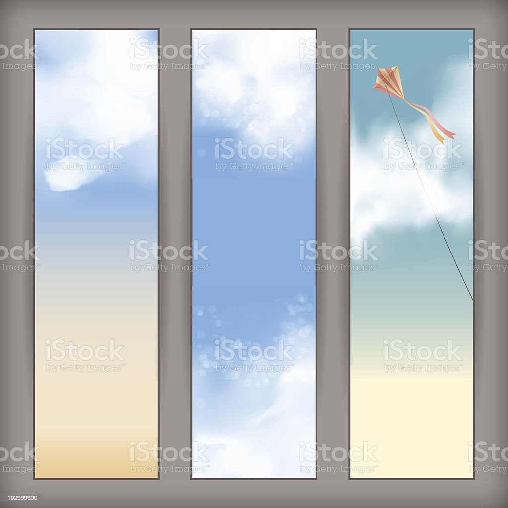 Vector sky banners with white clouds, flying kite royalty-free stock vector art