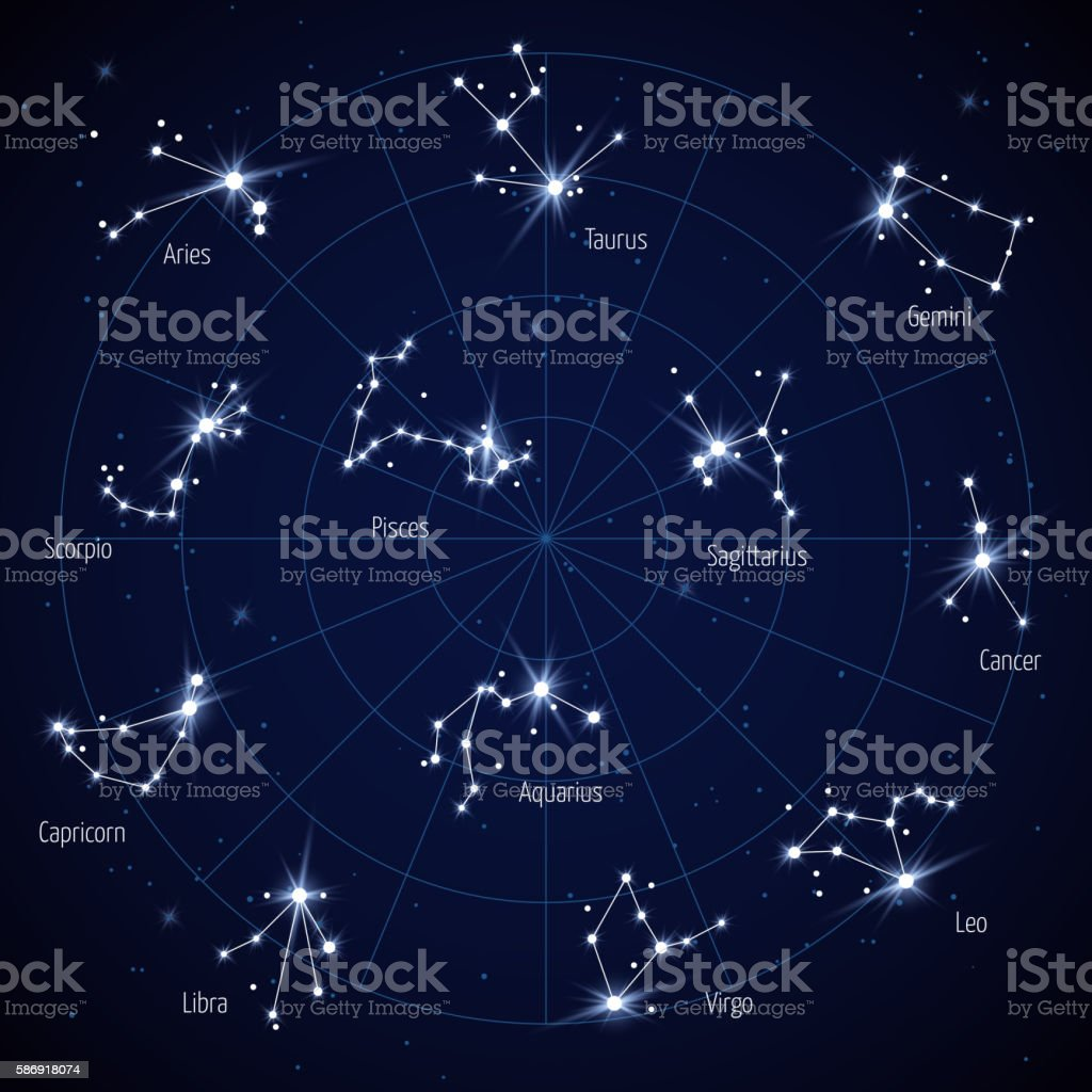 Vector Sky Star Map With Constellations Stars Stock Illustration