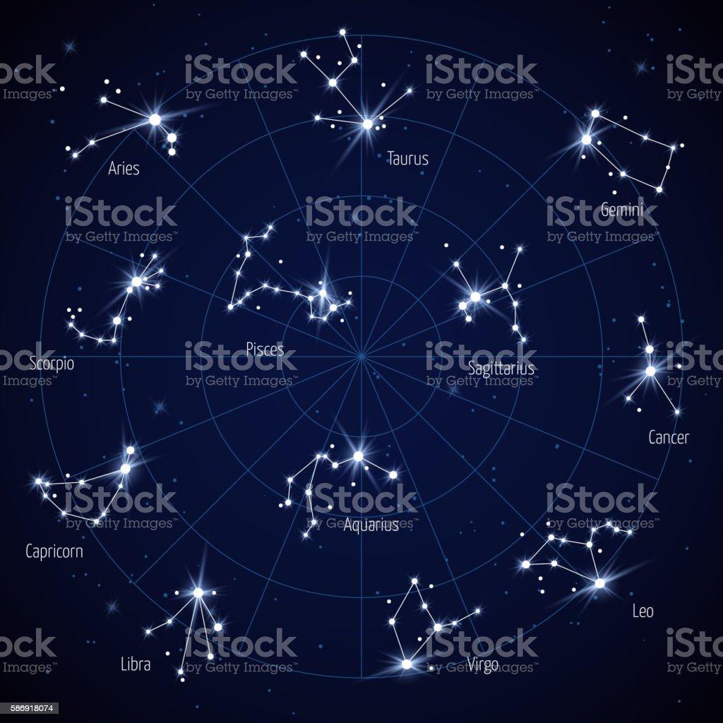 Vector sky star map with constellations stars vector art illustration
