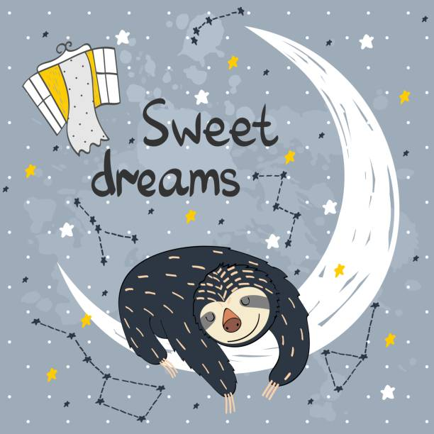 Vector sleeping sloth Vector illustration with funny sloth and moon. Sweet dreams. baby sloth stock illustrations