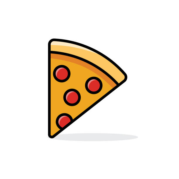 vector - slice of pepperoni pizza vector art illustration