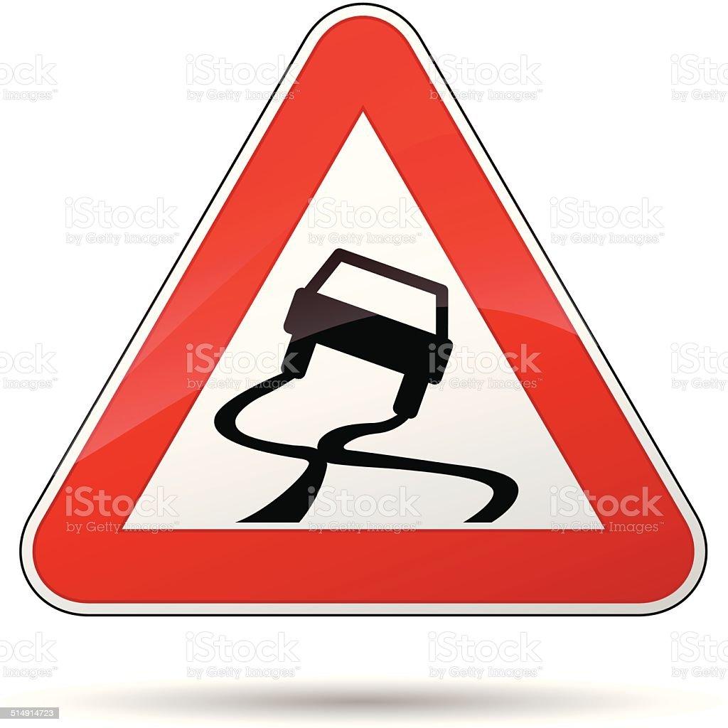 Vector slippery road sign vector art illustration
