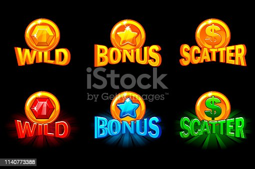 Vector slots icon templates. Gold and color icons wild, bonus and scatter. For game, slots, game development. Icons on a separate layer