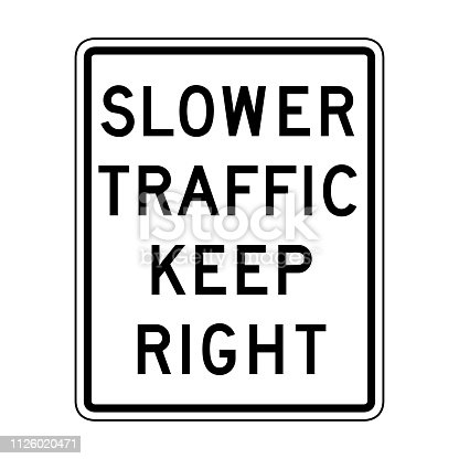 Vector slower traffic keep right icon