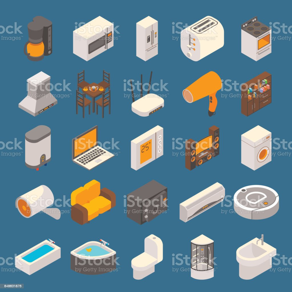 Vector Smart Home Flat 3d Isometric Icon Set Stock Illustration Download Image Now Istock
