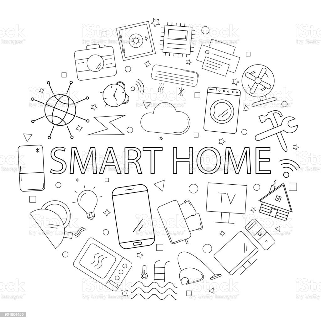 Vector smart home pattern with word. smart home background royalty-free vector smart home pattern with word smart home background stock vector art & more images of alarm