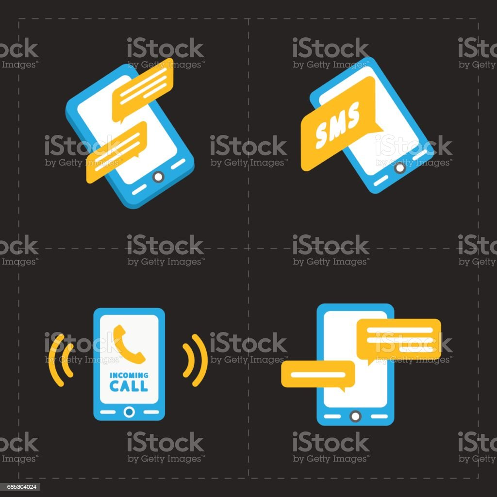 Vector smart phone icons on Black background vector smart phone icons on black background - arte vetorial de stock e mais imagens de apoio royalty-free