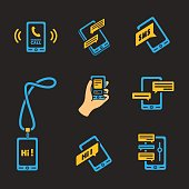 Vector smart phone icons on Black background