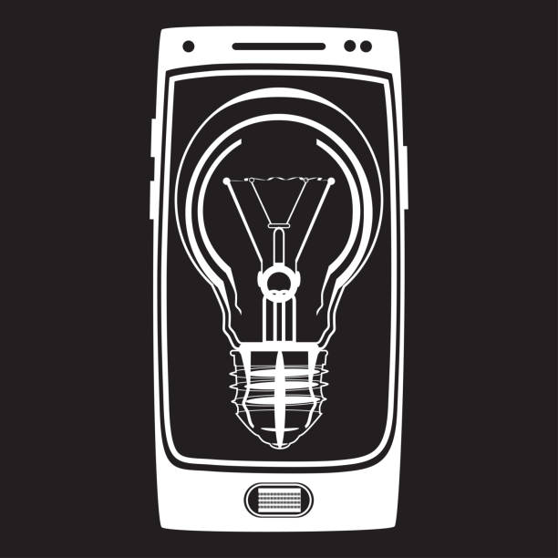 vektor smartphone idee icon im flachen stil - tablet mit displayinhalt stock-grafiken, -clipart, -cartoons und -symbole