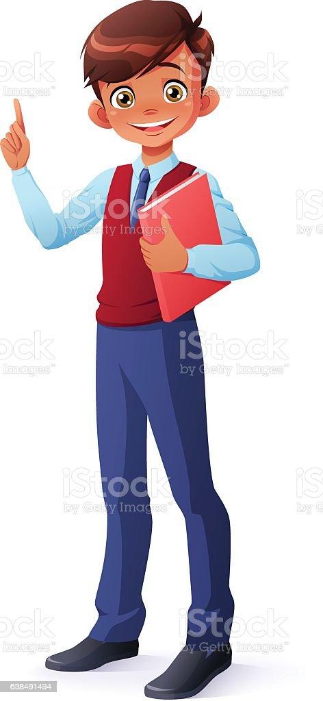 Vector smart smiling schoolboy index finger pointing up with idea. vector art illustration