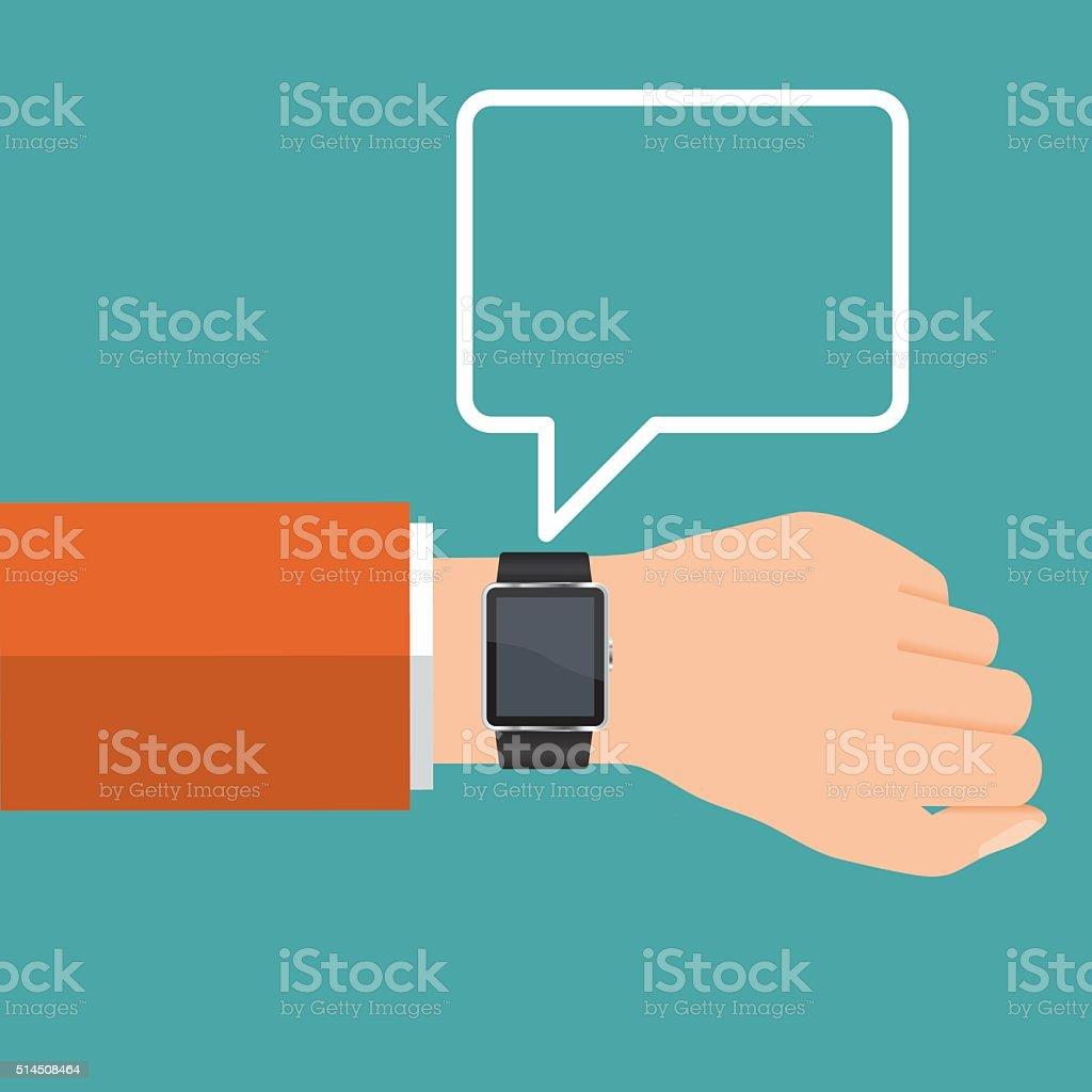 Vector smart watch communication vector art illustration