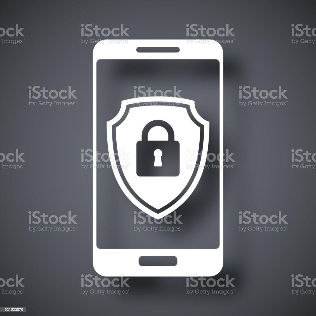 Vector Smartphone icon with a protective shield symbol on a screen. Lizenzfreies vector smartphone icon with a protective shield symbol on a screen stock vektor art und mehr bilder von ausrüstung und geräte