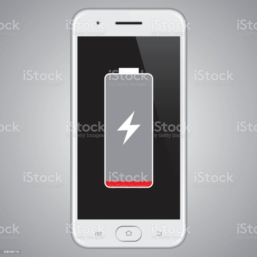 Vector Smartphone Low Battery vector art illustration