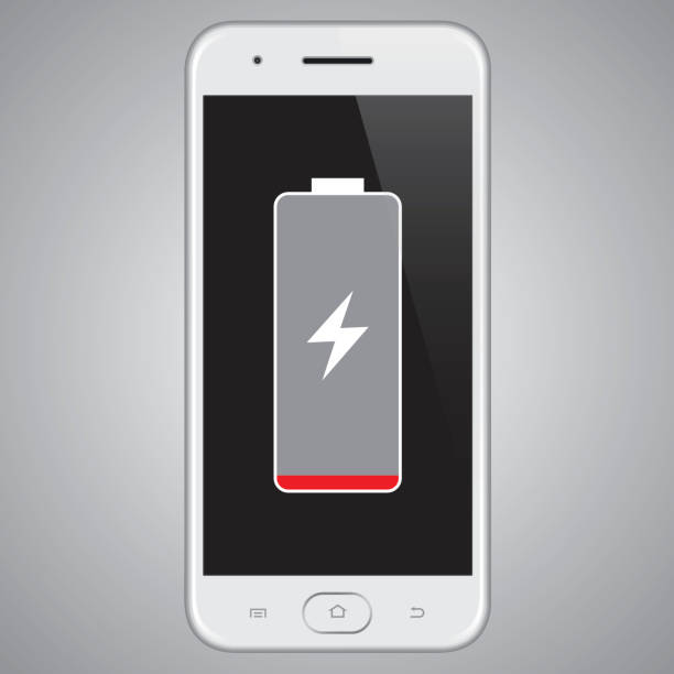Vector Smartphone Low Battery Vector illustration of a smartphone Low battery. EPS10 layers (removeable) and alternate formats (hi-res jpg, pdf). rechargeable battery stock illustrations