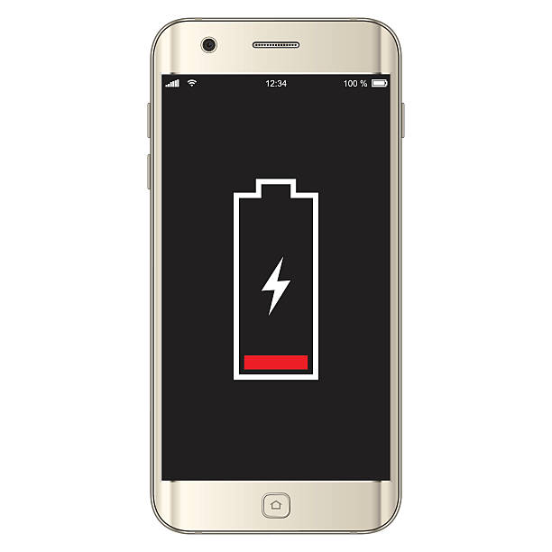 Vector Smartphone Low Battery Vector illustration of a smartphone low battery. EPS10 layers (removeable) and alternate formats (hi-res jpg, png, pdf).  battery stock illustrations